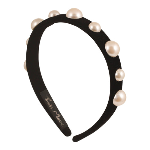 Alice Band Velvet Thin Flat Pearl - Parismodeshop