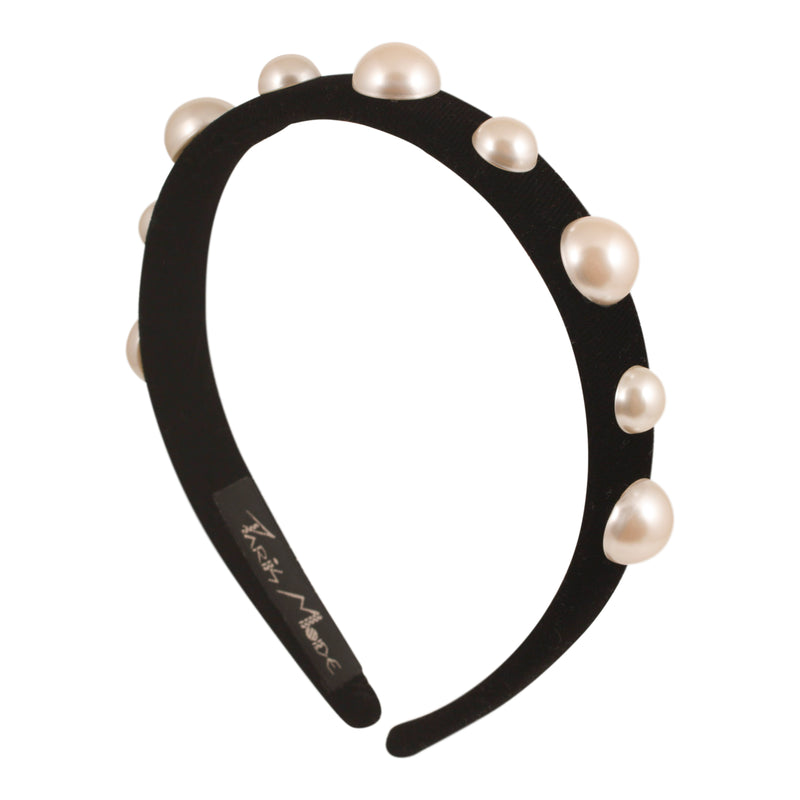 1.5 cm Black Alice Band Velvet Thin Flat Pearl - Parismodeshop NSW