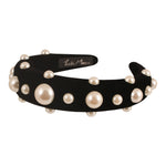 Black Velvet Alice Band with Pearls - Paris Mode Online AU