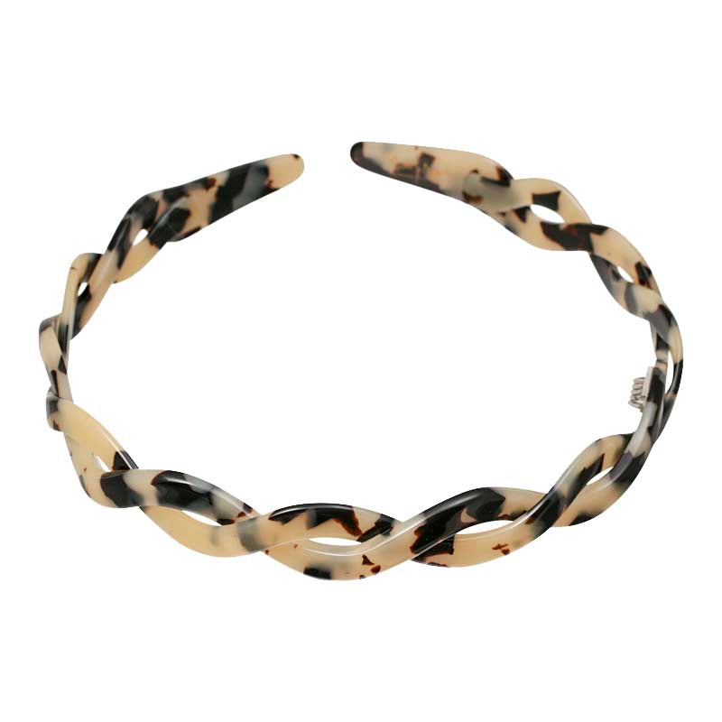 Light Tortoi Shell Hand Made Twist Alice Band Online - Parismodeshop Australia
