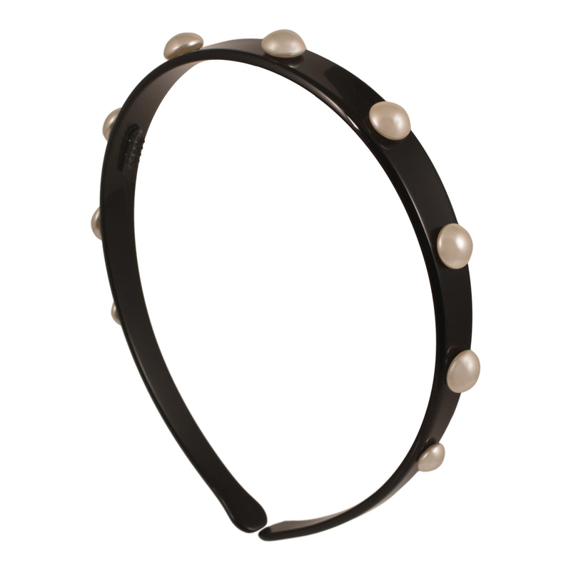 1.5 Cm Black Alice Band Small with Pearls - Parismodeshop online