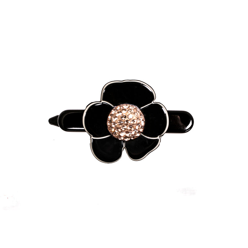 Hair Slide Camellia Pave Small