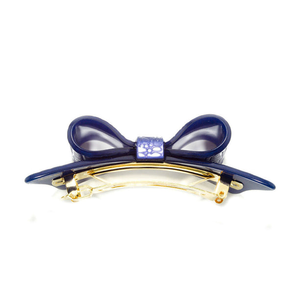 Hair Clip Bow Dbl L Srpblu - Hand Made In France