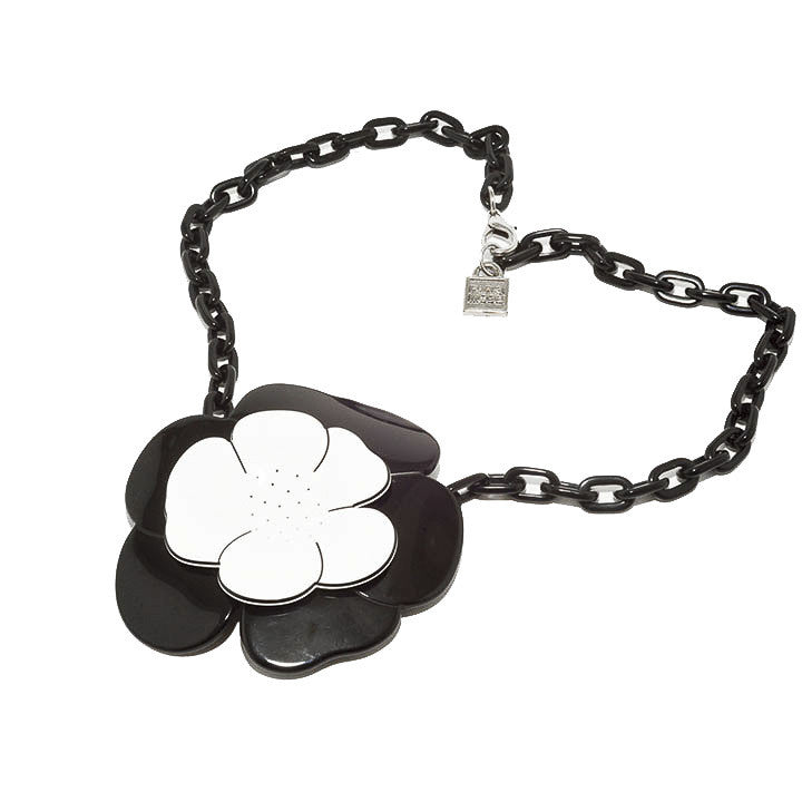 Large Camelia Necklace Bw- Hand Made In France