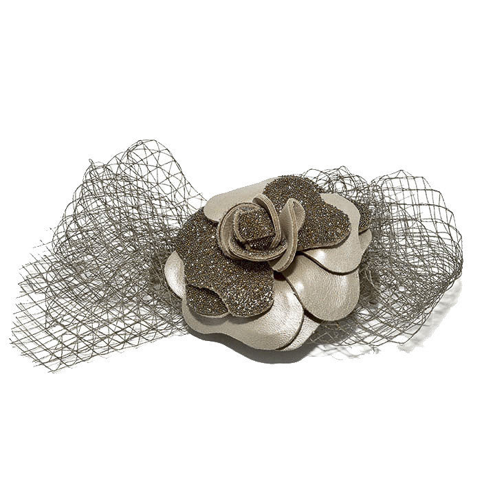 Fine Camelia Audace Crystal Hair Clip in Taupe - Paris Mode Hand Made Hair Accessories