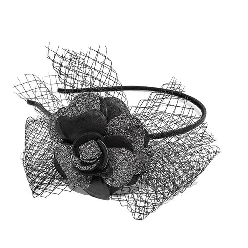 Black Camelia Alice Hair Band with Swarovski crystals and flower - Paris Mode AU