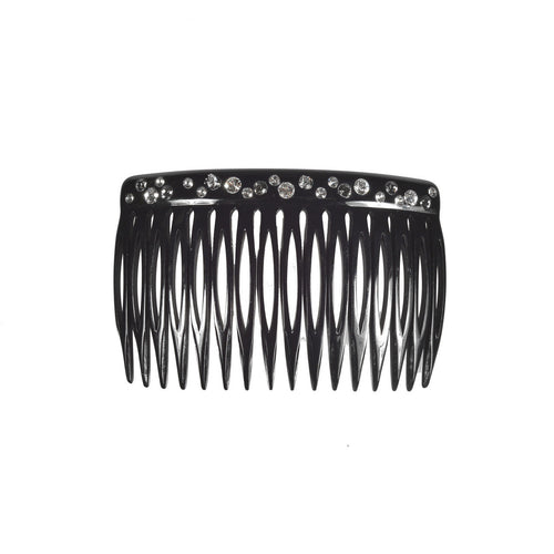 Side Comb 16 M Strass Bk