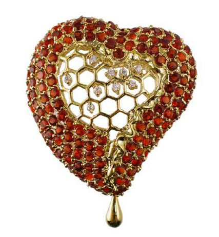 Salvador Dali Joies - Honeycomb Heart Pin