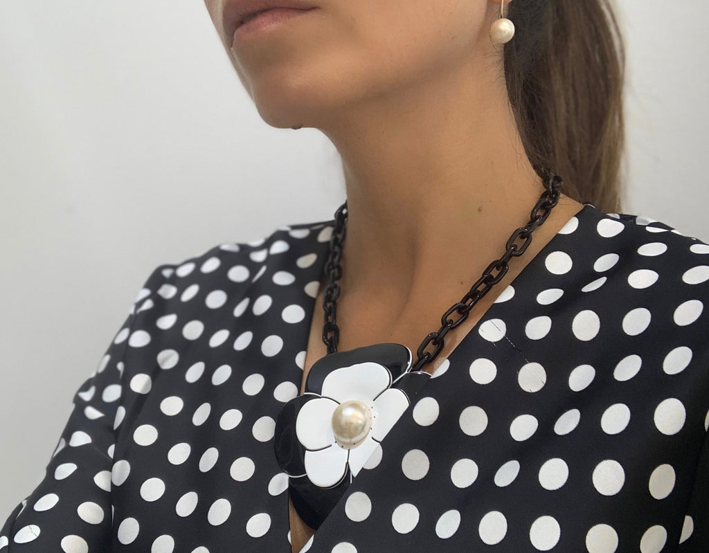 Large Camellia Necklace with Pearl