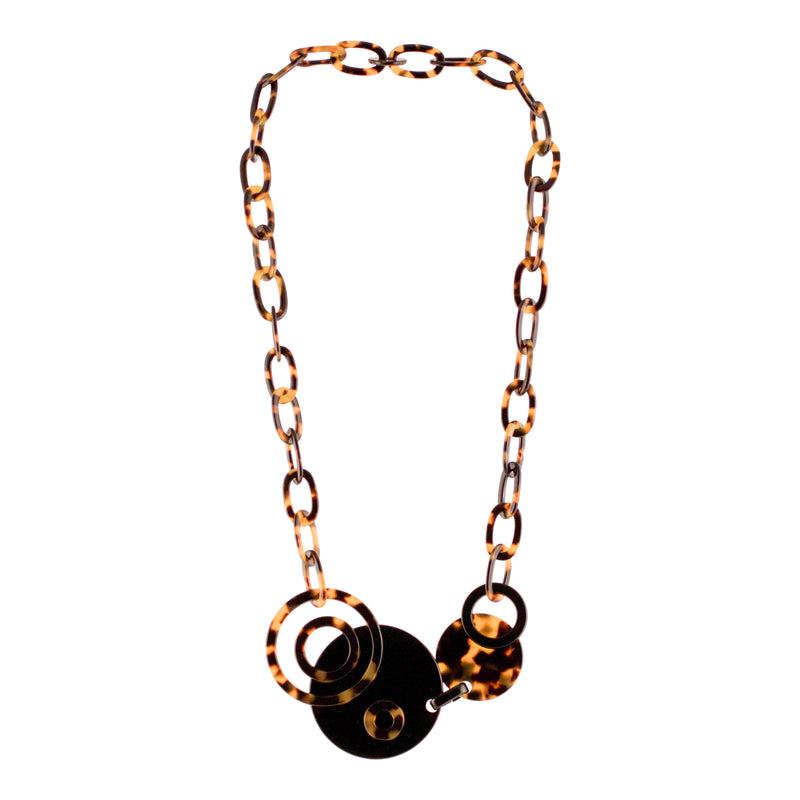 Dark Tortoi Shell Art Deco Necklace - Parismodeshop Jewellery Australia