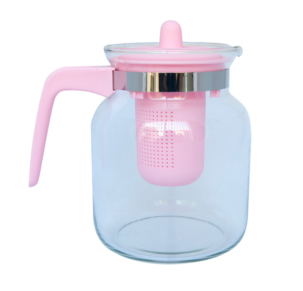 Glass Tea pot with Strainer - Pink