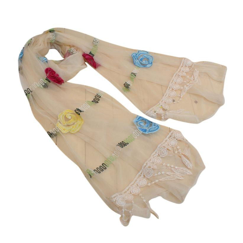 Embroidery Lace Tassel Shawl Voile Scarf