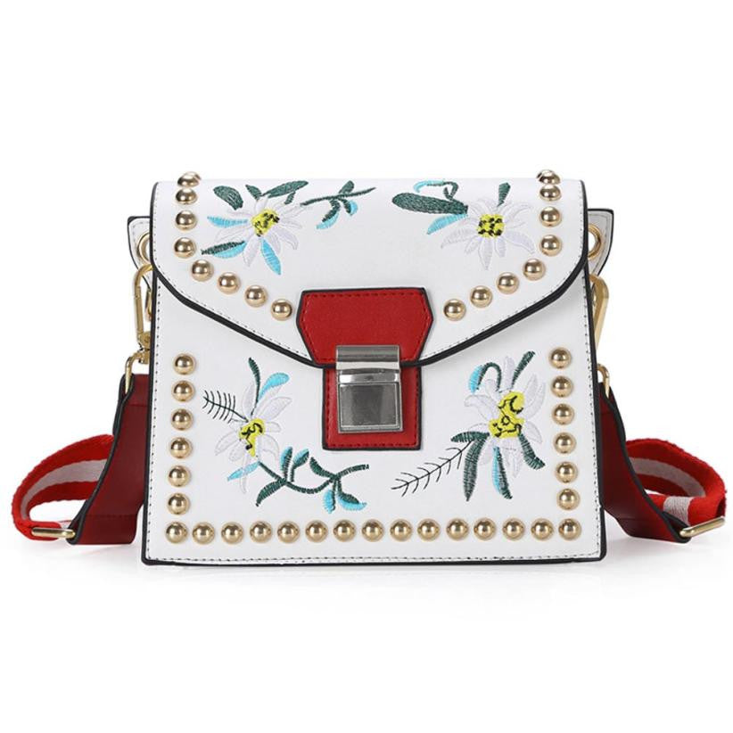 Embroidery Flower Leather Handbag