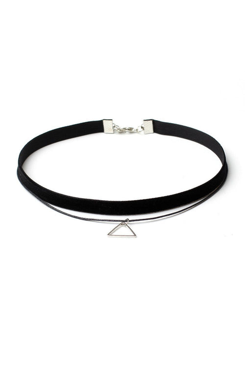 Layered Triangle Pendant Choker - Ciduire