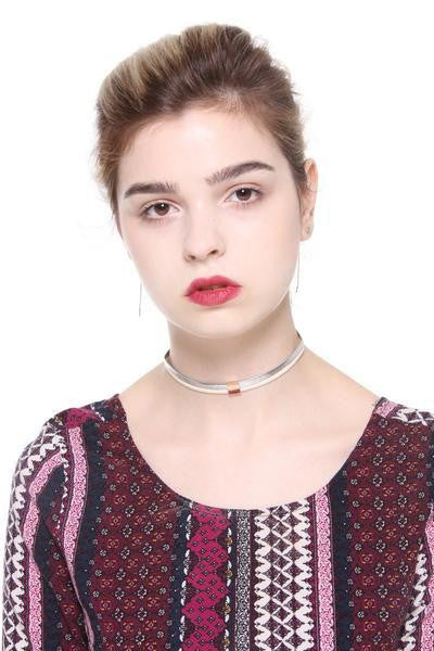 Faux Leather Dual Color Choker - Ciduire