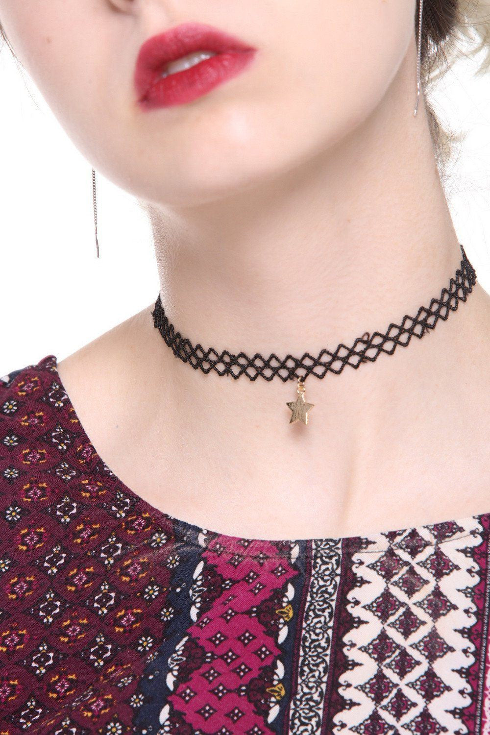 Star Pendant Tattoo Choker Necklace - Ciduire