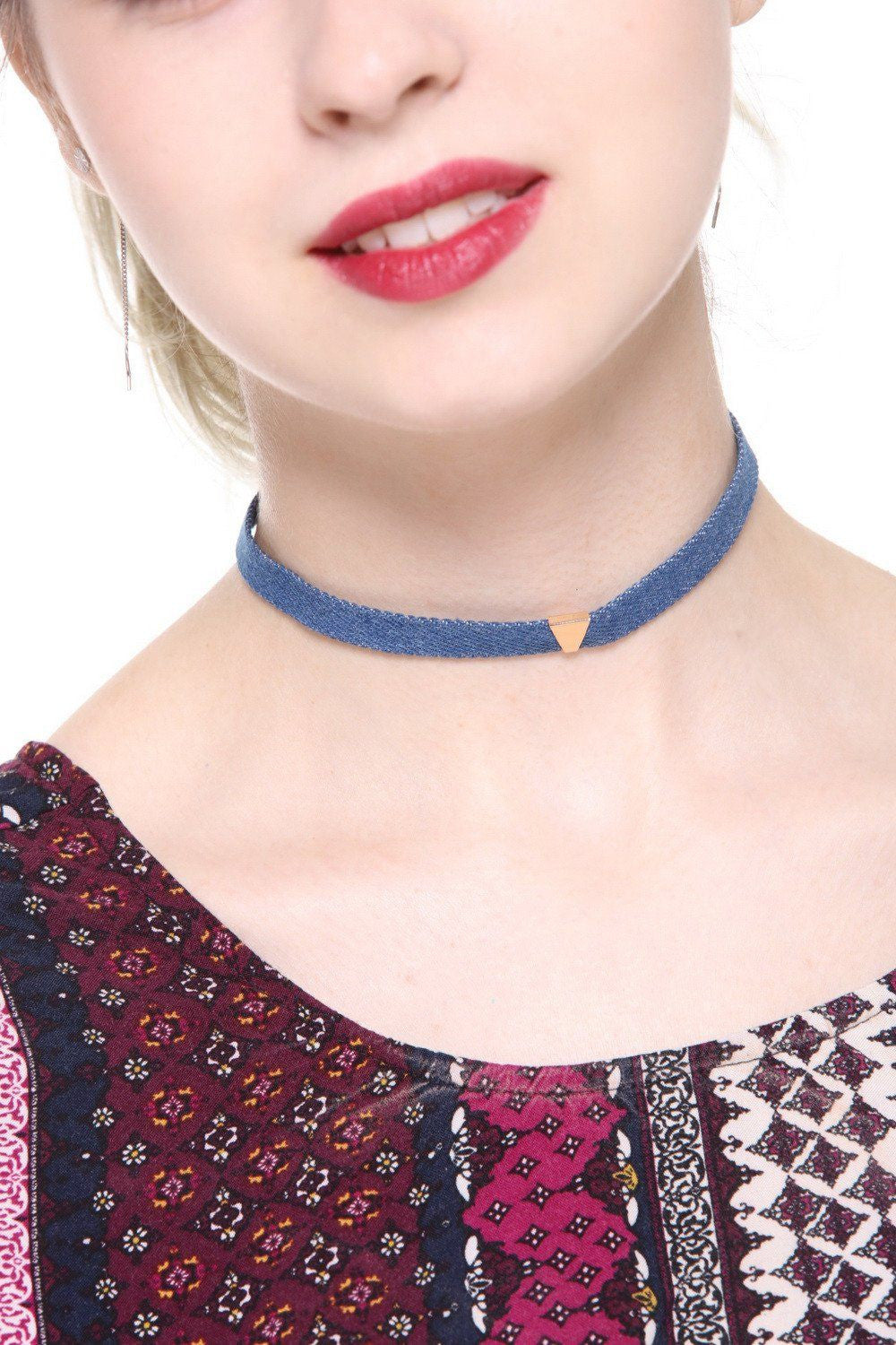 Denim Triangle Studded Choker - Ciduire