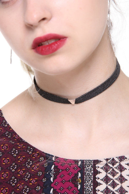 Dark Denim Triangle Studded Choker - Ciduire