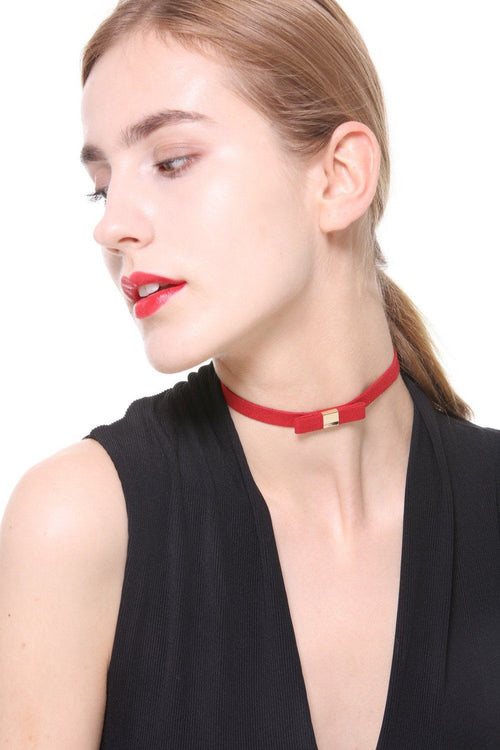 Red Fine Bow Faux Suede Choker - Ciduire