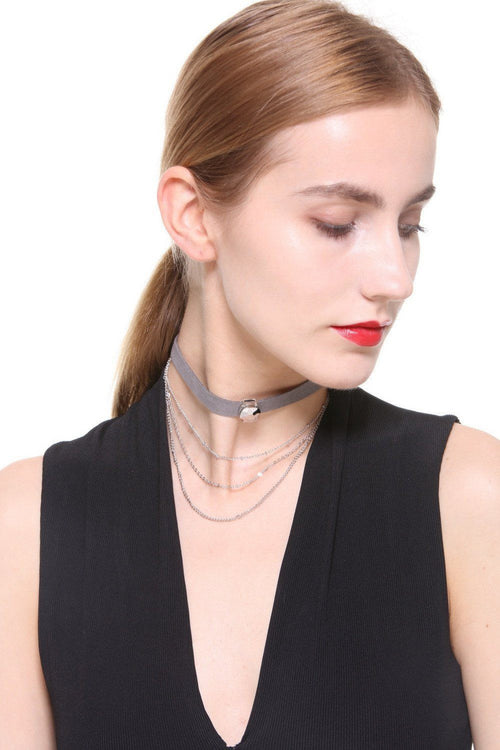 Layered Faux Suede Grey Chain Choker - Ciduire