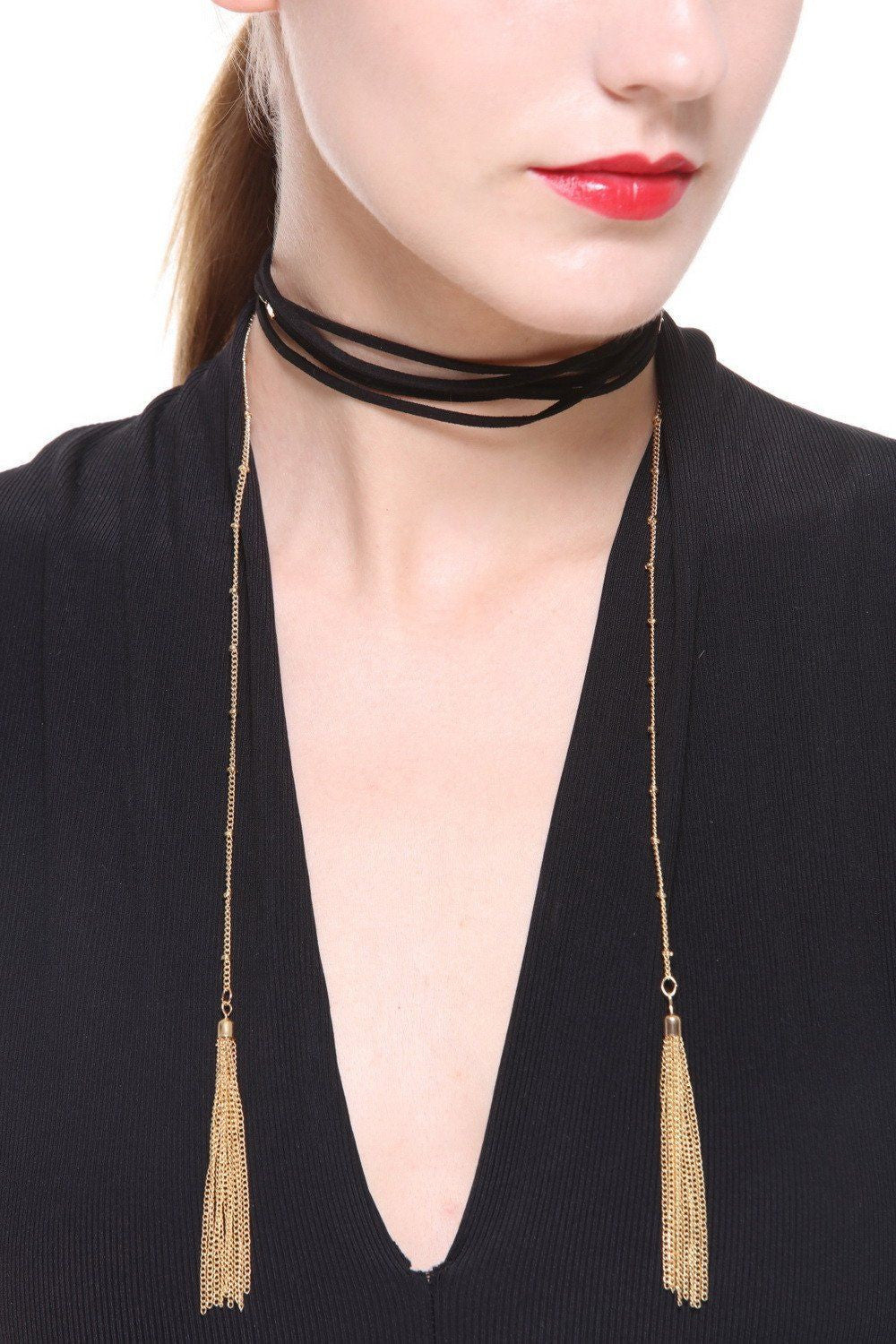 High Polished Tassel Faux Suede Choker - Ciduire