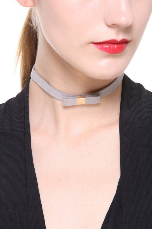 Light Grey Fine Bow Faux Suede Choker - Ciduire