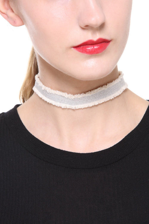 White and Silver Velvet Choker - Ciduire