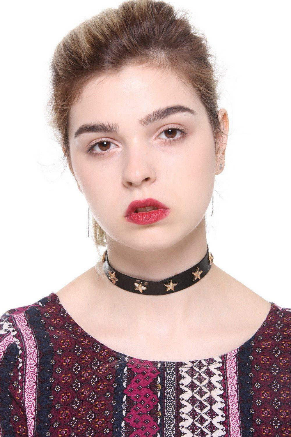 Faux Leather Star Choker - Ciduire