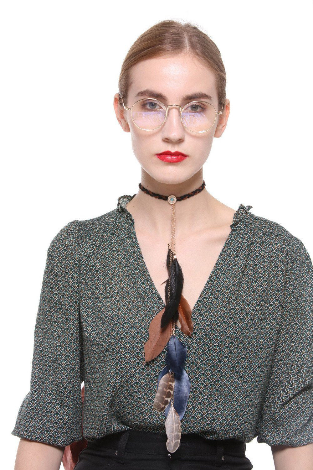 Feather Fringe Braided Choker - Ciduire