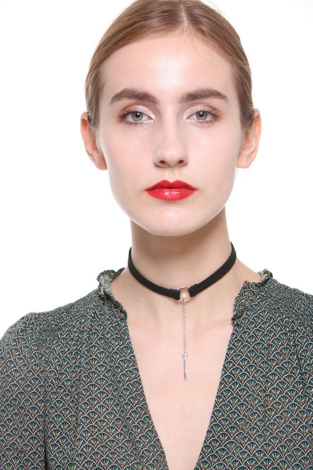O-Ring Drop Chain Black Choker - Ciduire