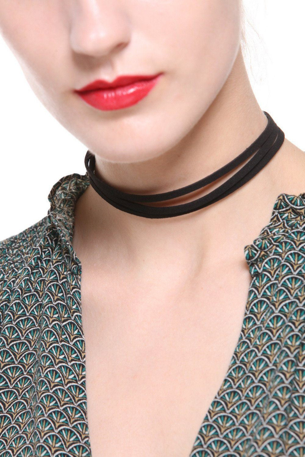 Faux Suede Layered Choker - Ciduire
