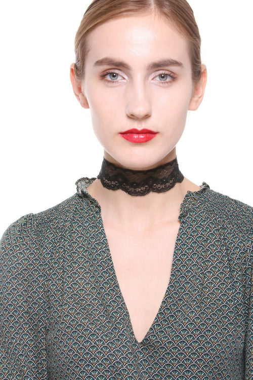 Wide Band Lace Choker Necklace - Ciduire