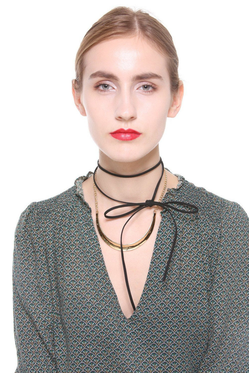 Faux Suede Self-tie Wrap Choker Set - Ciduire