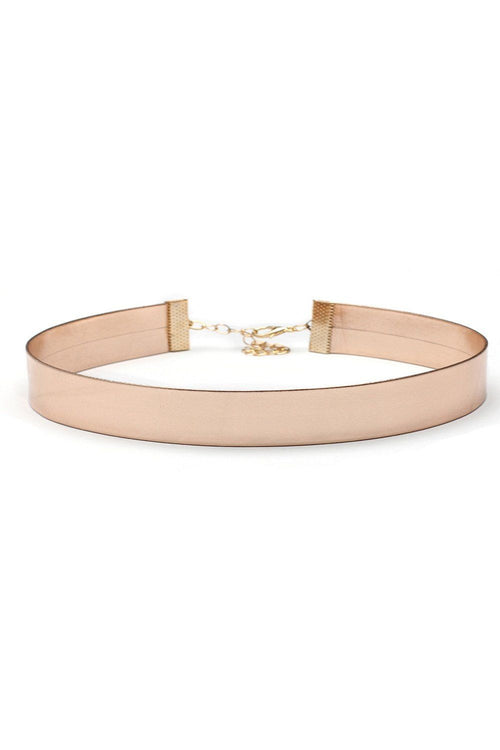 Faux Leather Rose Gold Choker - Ciduire
