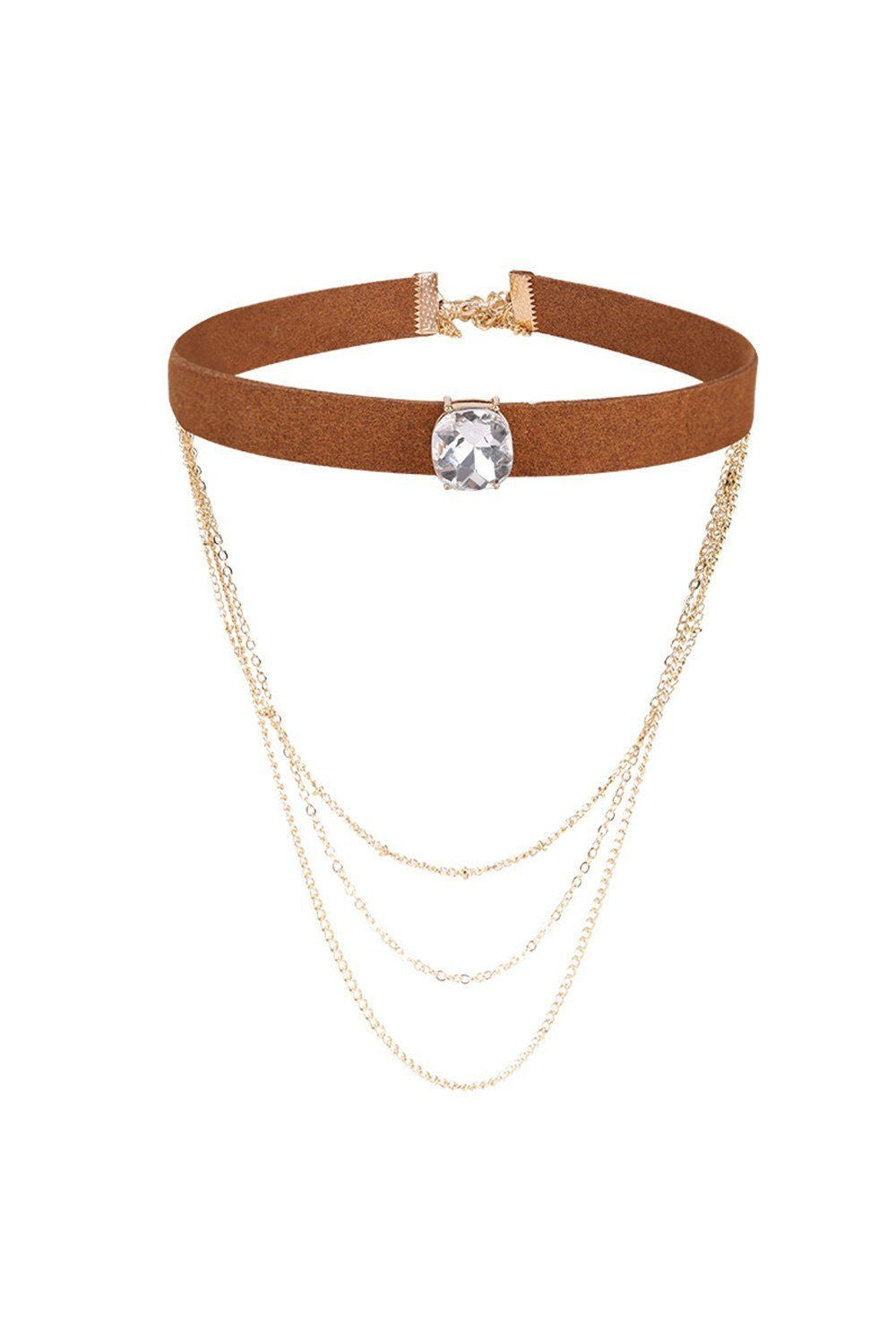 Layered Faux Suede Brown Chain Choker - Ciduire