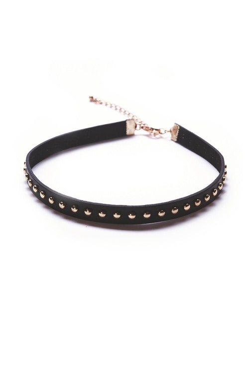 Love Rock Faux Leather Studded Choker - Ciduire