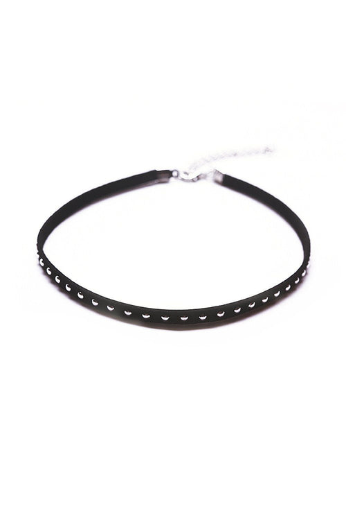 Studded Faux Leather Choker - Ciduire