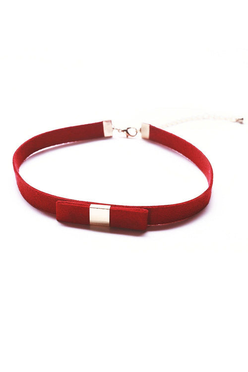 Red Fine Bow Faux Suede Choker