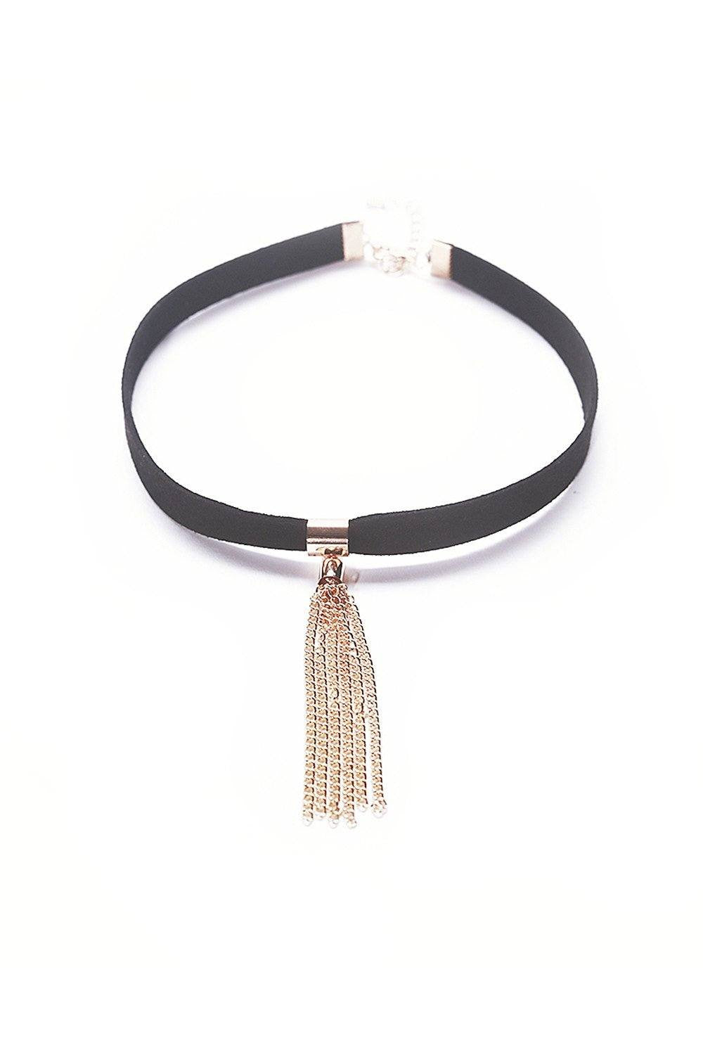 Gold Long Tassel Black Choker - Ciduire