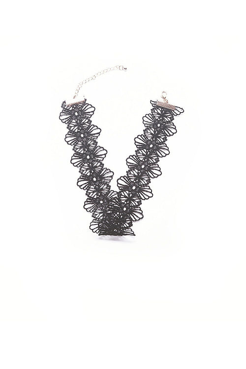 Black Lace Band Flower Choker - Ciduire