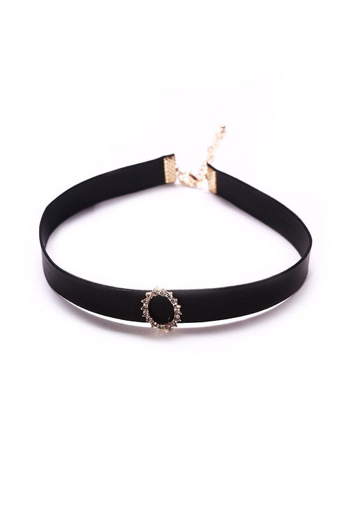 Faux Leather Rhinestone Choker - Ciduire