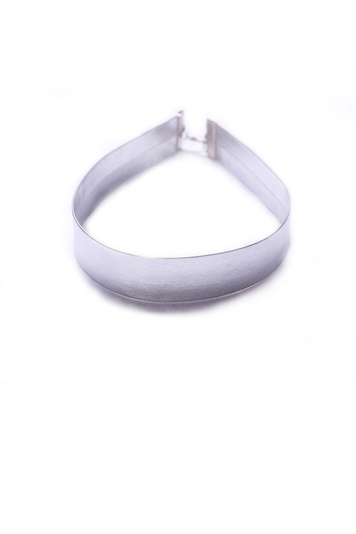 Faux Leather Silver Choker - Ciduire