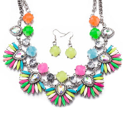 Retro female Charm Pendant Necklace Earrings Crystal Necklace chunky Earrings Necklace Set