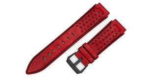 Red Perforated Leather Strap