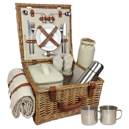 2 Person Picnic Hamper Rye Picnic Baskets Candle and Blue
