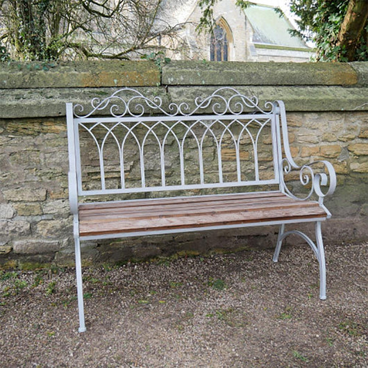 2 Seater Grey Cast Iron and Fir Wood Garden Bench Seat Garden Furniture Candle and Blue Interiors