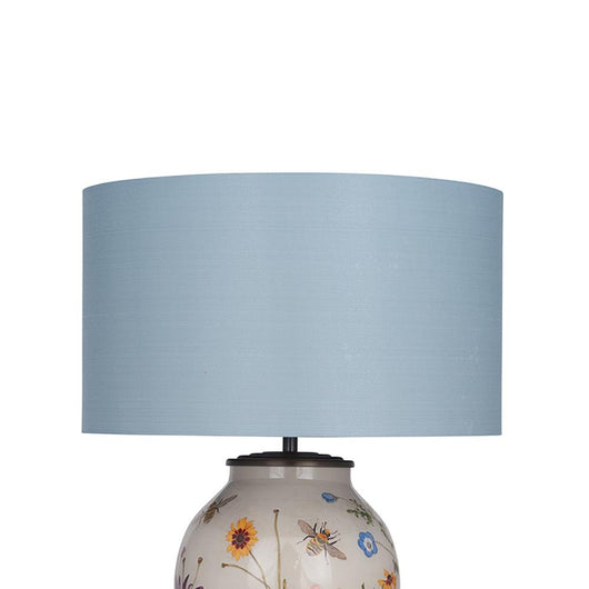 35cm Silk Lined Cylinder Lamp Shade Lighting Candle and Blue Interiors