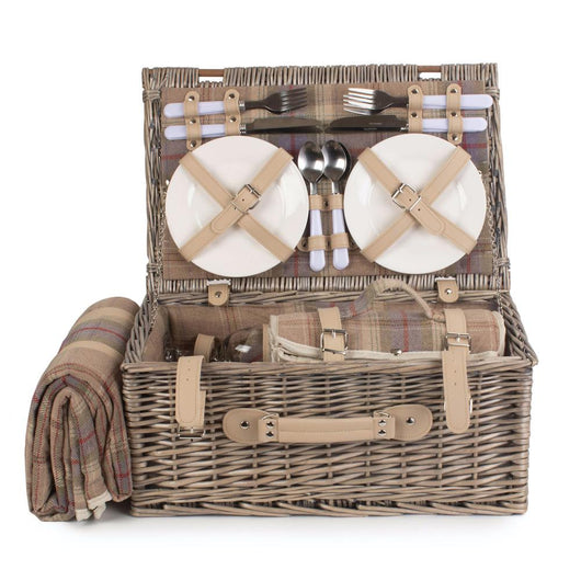 4 Person Luxury Lavender Tartan Hamper Picnic Baskets Candle and Blue Interiors