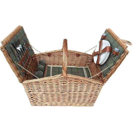 4 Person Willow Green Tweed Picnic Basket Picnic Baskets Candle and Blue