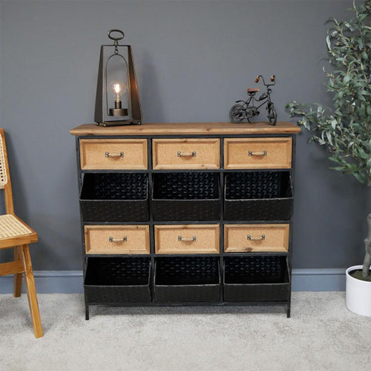 6 Basket 6 Drawer Metal Wood Storage Unit Industrial Style Candle and Blue Interiors